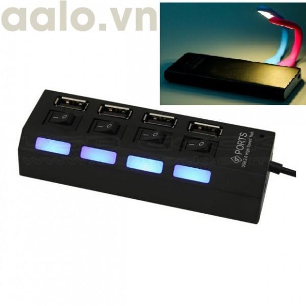 [Tặng đèn led usb siêu sáng] Bộ chia usb từ 1 ra 4 usb có công tắt 2.0 (Hub USB) - aalo.vn