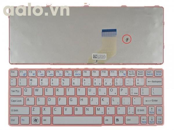 Bàn phím laptop Sony SVE 11 Trắng khung hồng