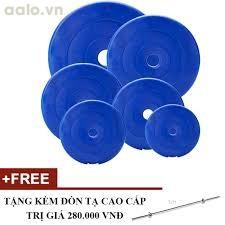 Trọn bộ tạ miếng nhựa 1kg, 2kg, 3kg, 4kg, 5kg,10kg - mỗi loại 2 miếng (Tặng đòn tạ 1m)