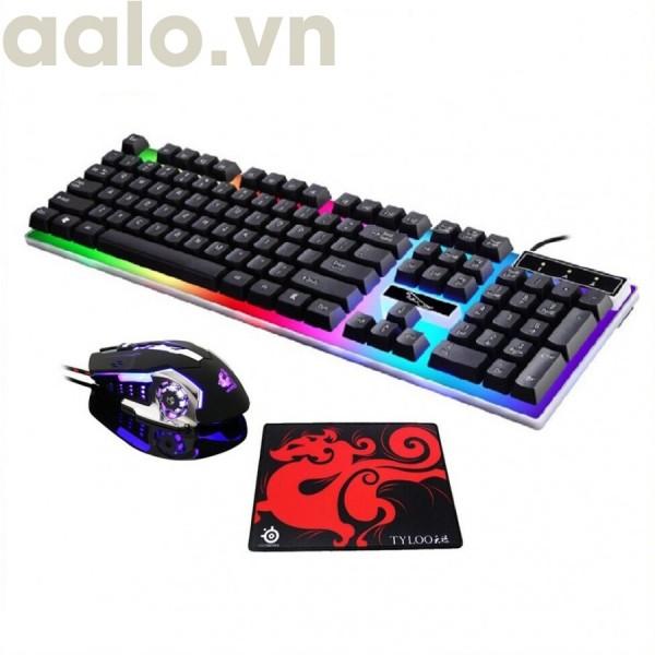 (GIÁ SẬP SÀN) Bộ bàn phím giả cơ PRO G21 kèm chuột Có LED 7 Màu Ấn Tượng