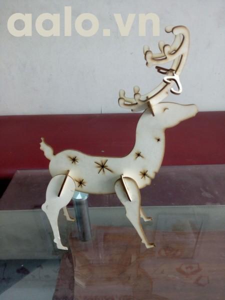 Quà lưu niệm lắp ráp gỗ 3D mô hình nai đỏ-Red deer