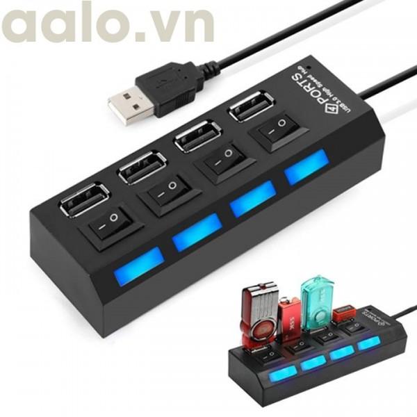 Hub chia 4 cổng USB có công tắc chính hãng - aalo.vn